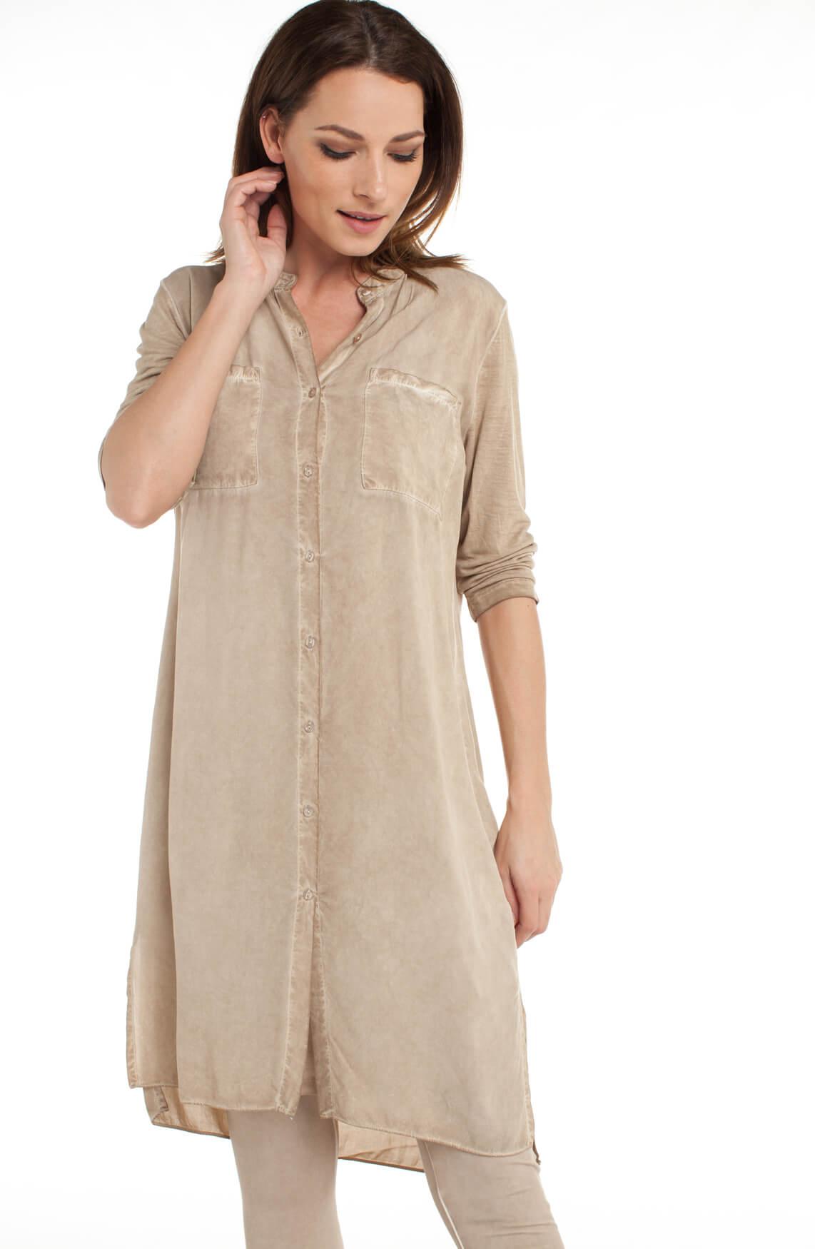 Anna Dames Garment dye jurk Ecru
