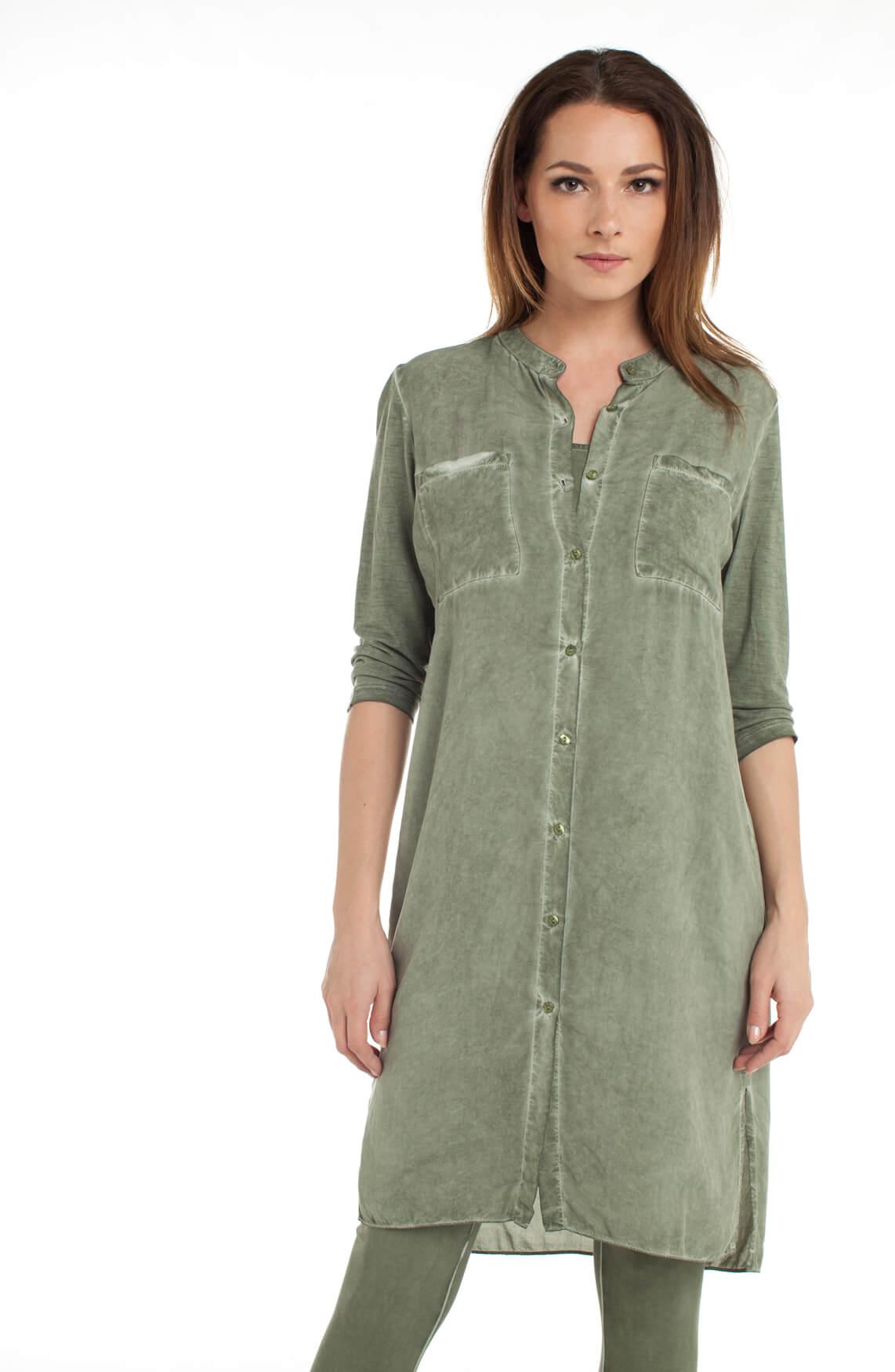 Anna Dames Garment dye jurk groen