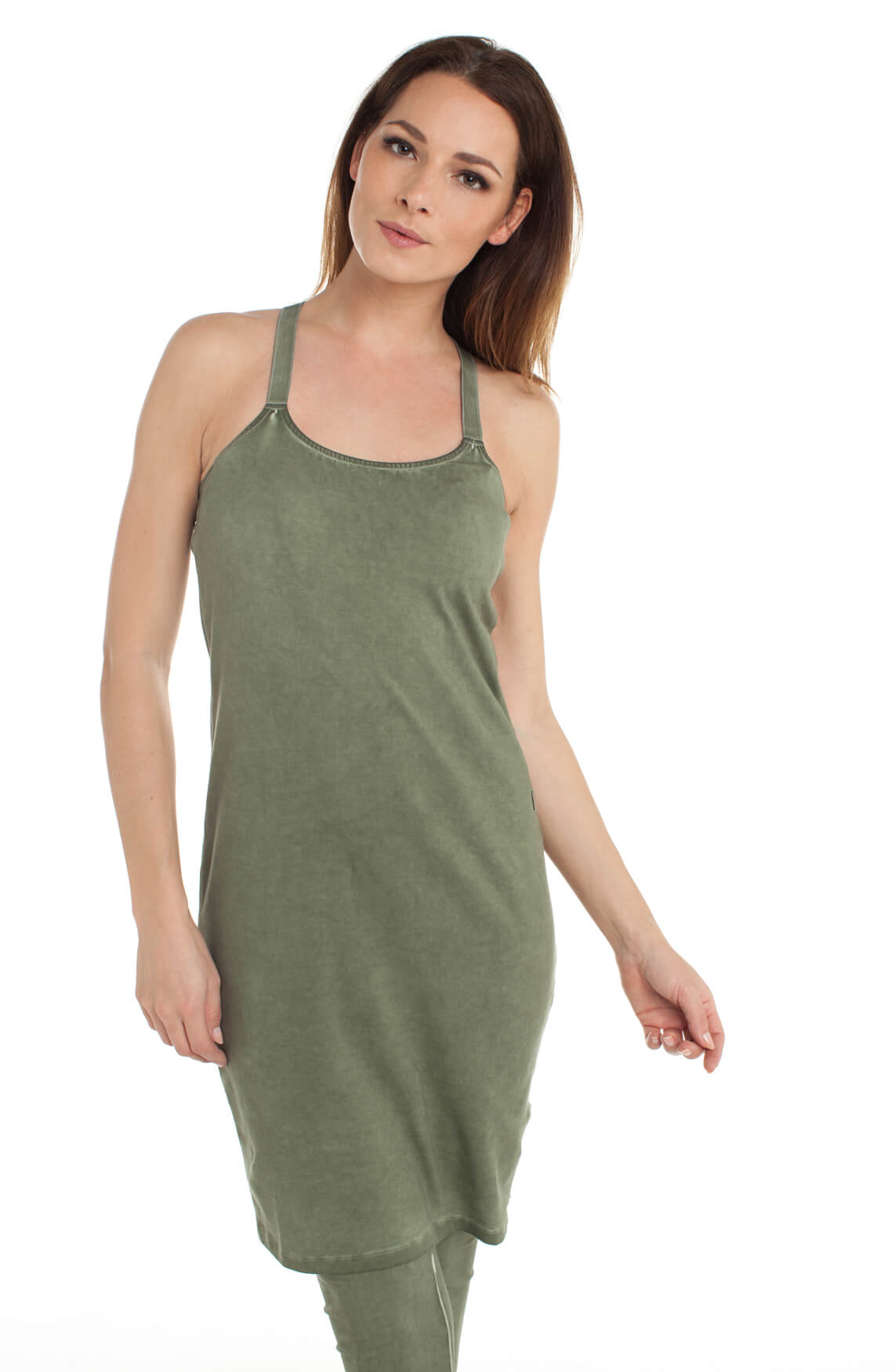 Anna Dames Verlengde garment dye top groen