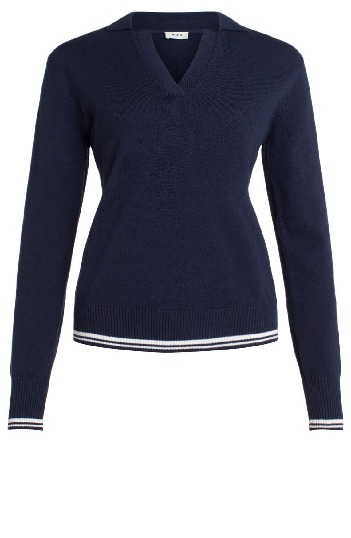 Anna Blue Dames Pullover met kraag Blauw
