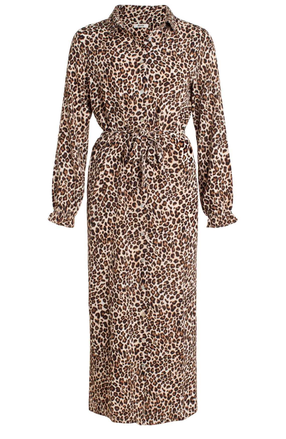 Anna Dames Lange panterprint jurk Bruin