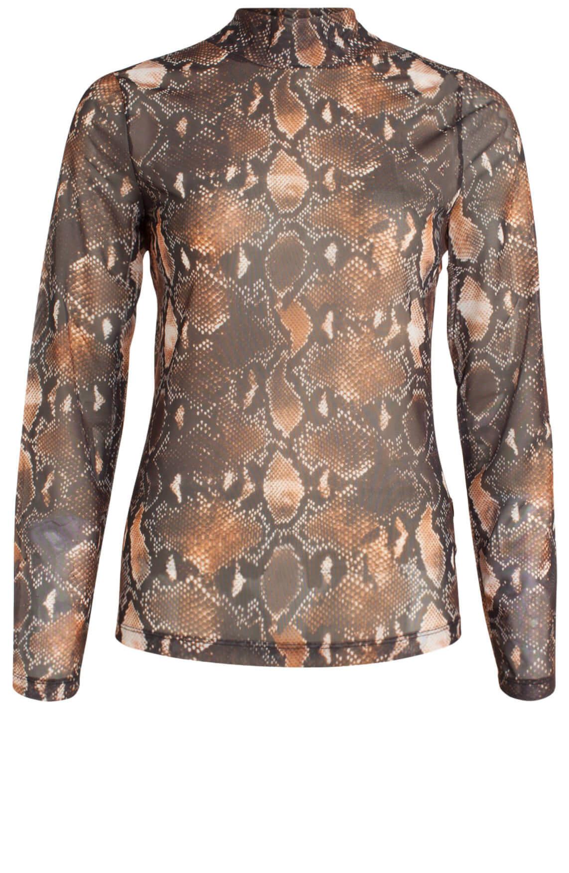 Anna Dames Mesh shirt met reptielprint Bruin