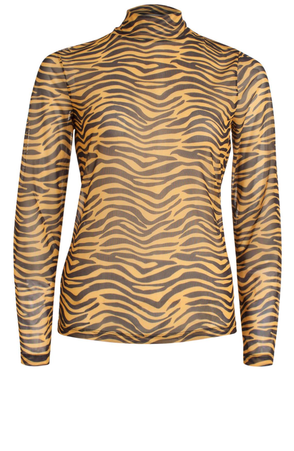 Anna Dames Mesh shirt met animalprint geel