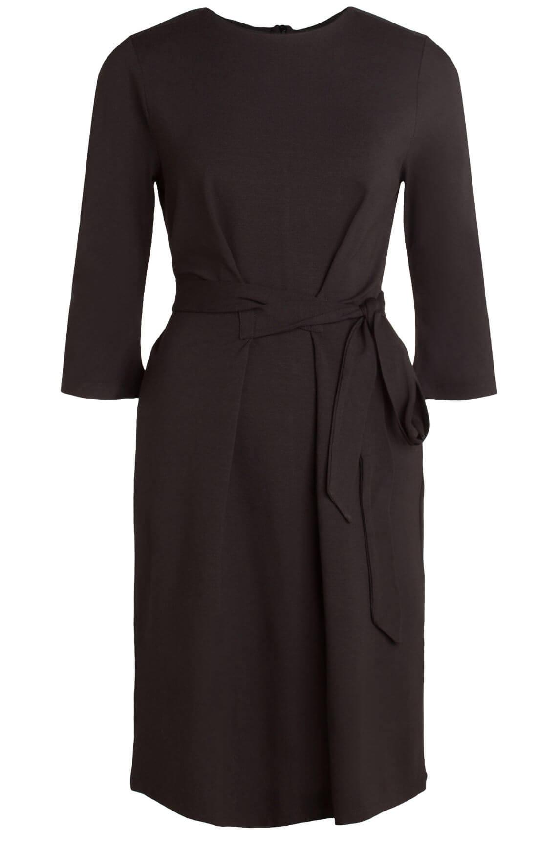Anna Dames Chique jurk met ceintuur zwart