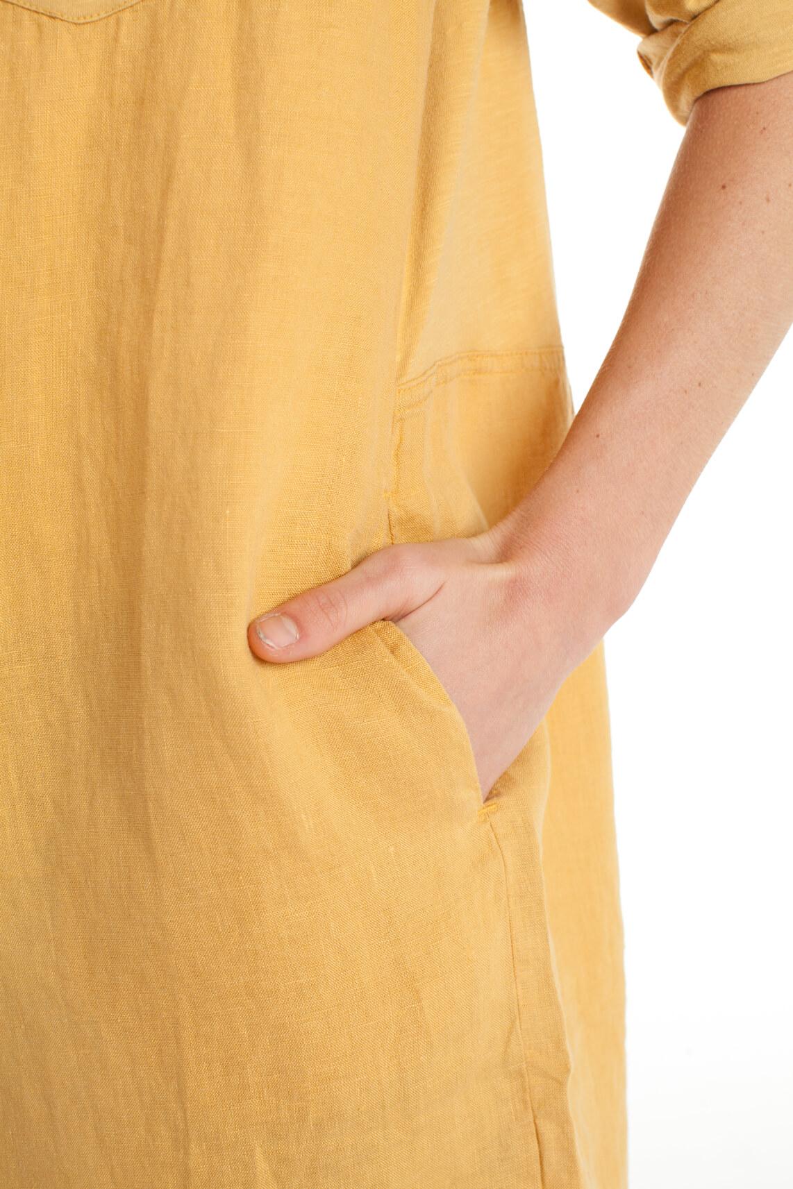 Anna Blue Dames Materiaalmix tuniek geel