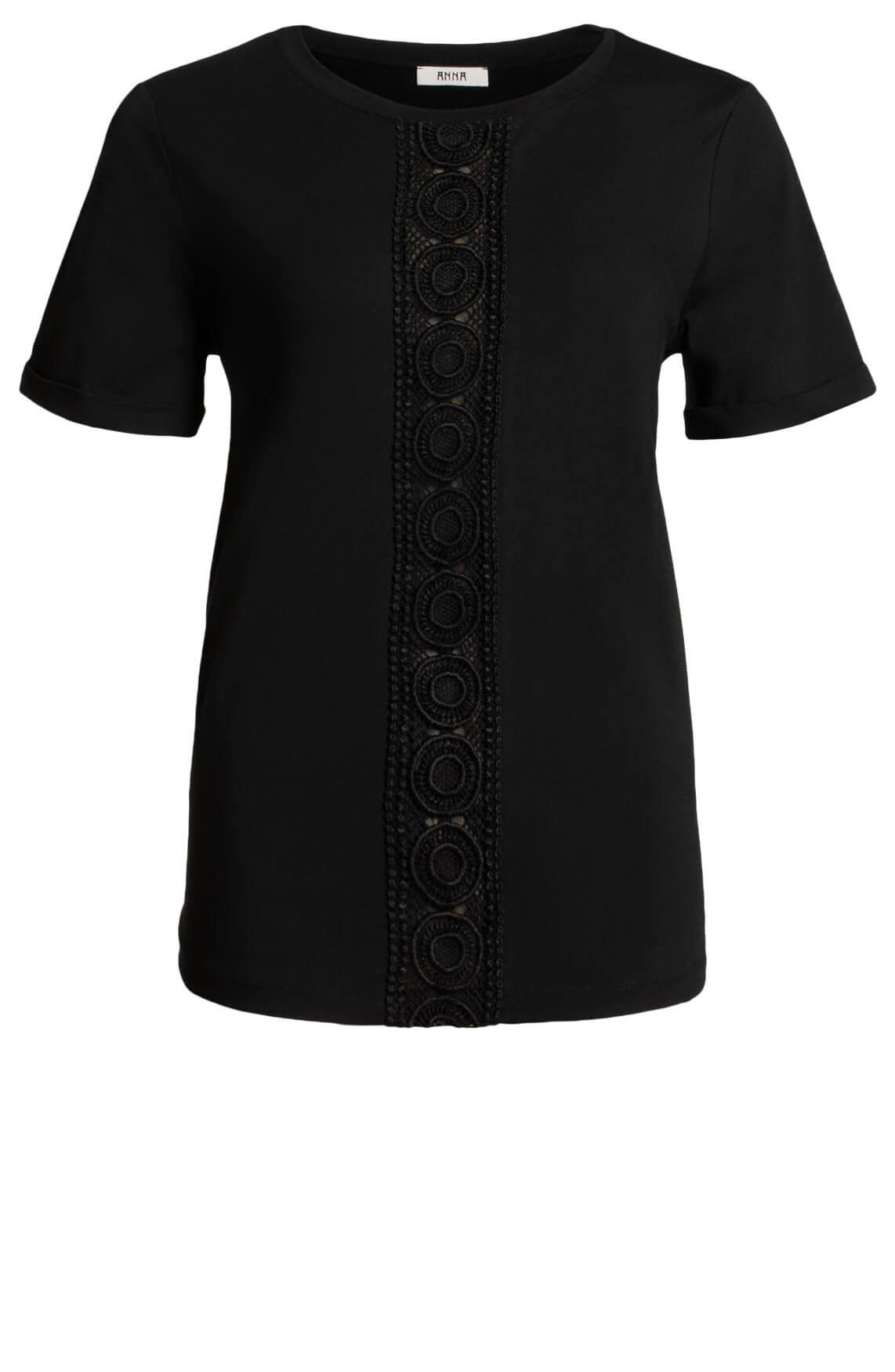 Anna Dames Shirt met kanten detail zwart