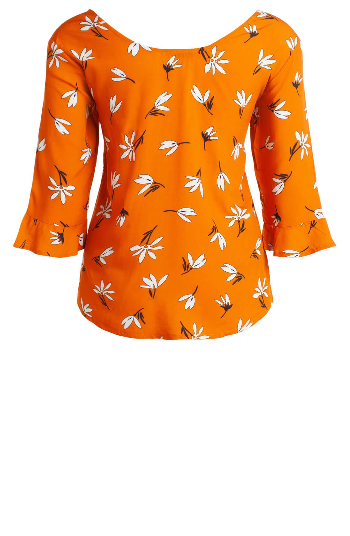 Anna Dames Blouse met bloemenprint Oranje