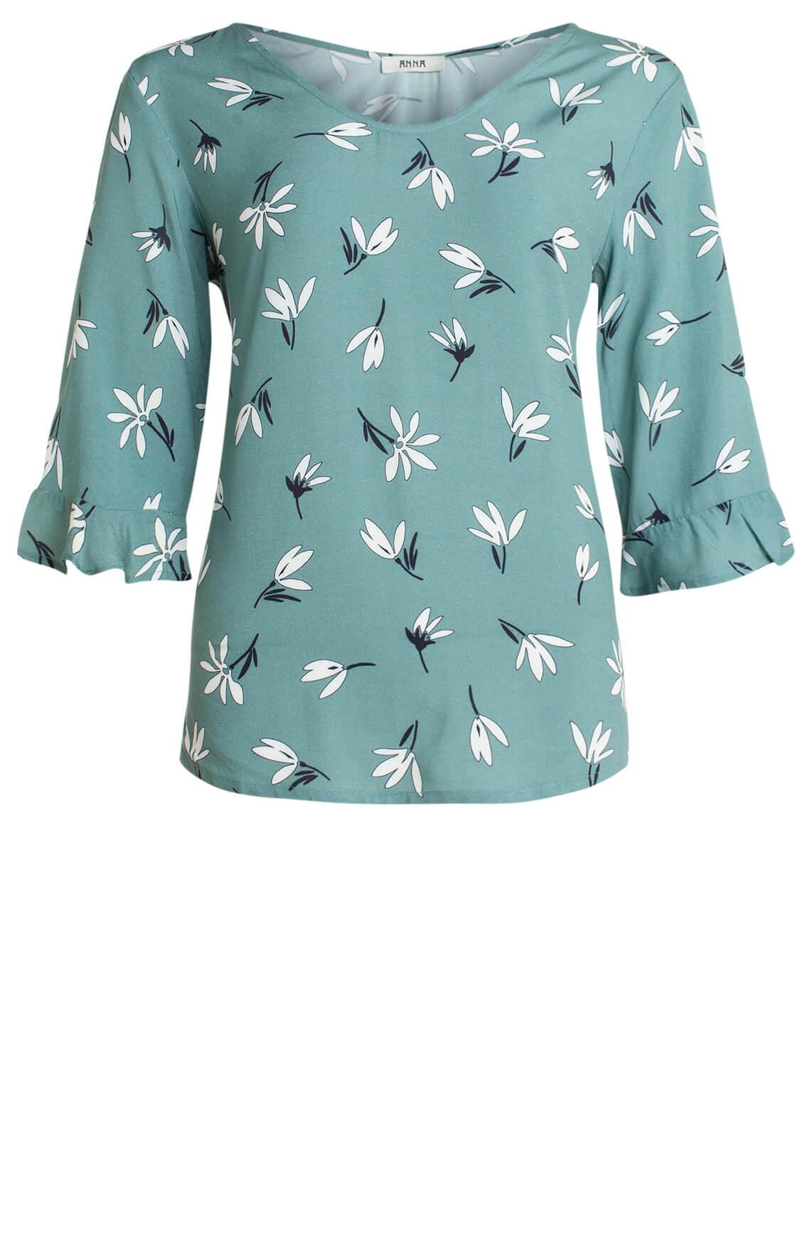 Anna Dames Blouse met bloemenprint groen