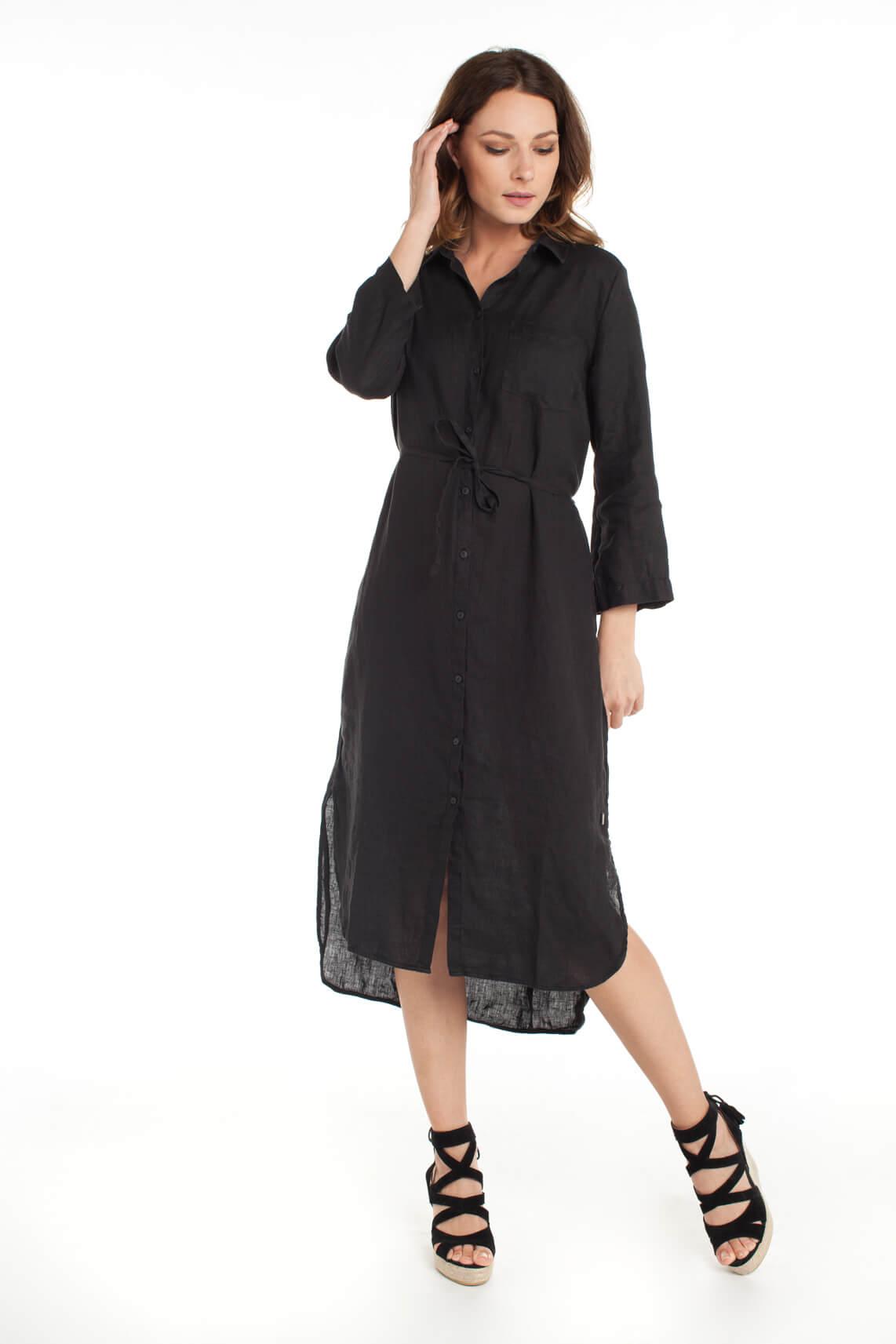 Anna Dames Linnen jurk zwart