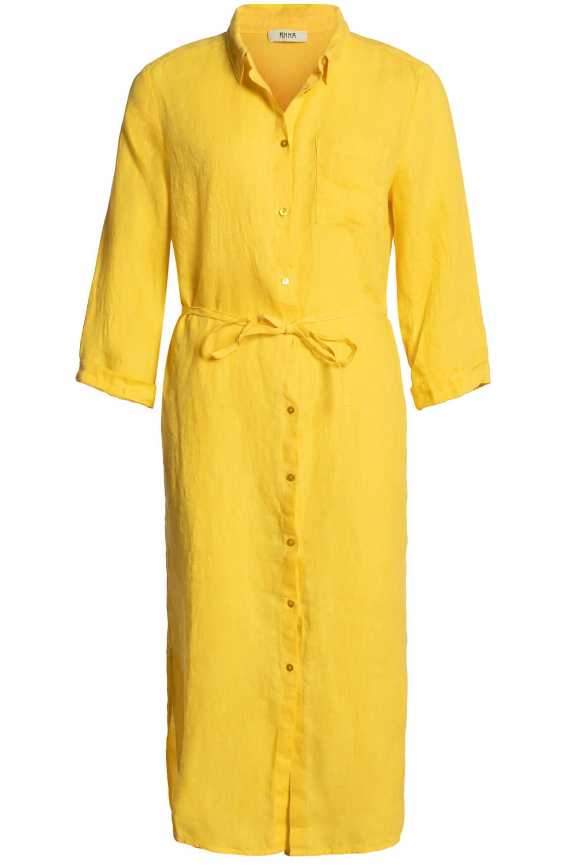 Anna Dames Linnen jurk geel