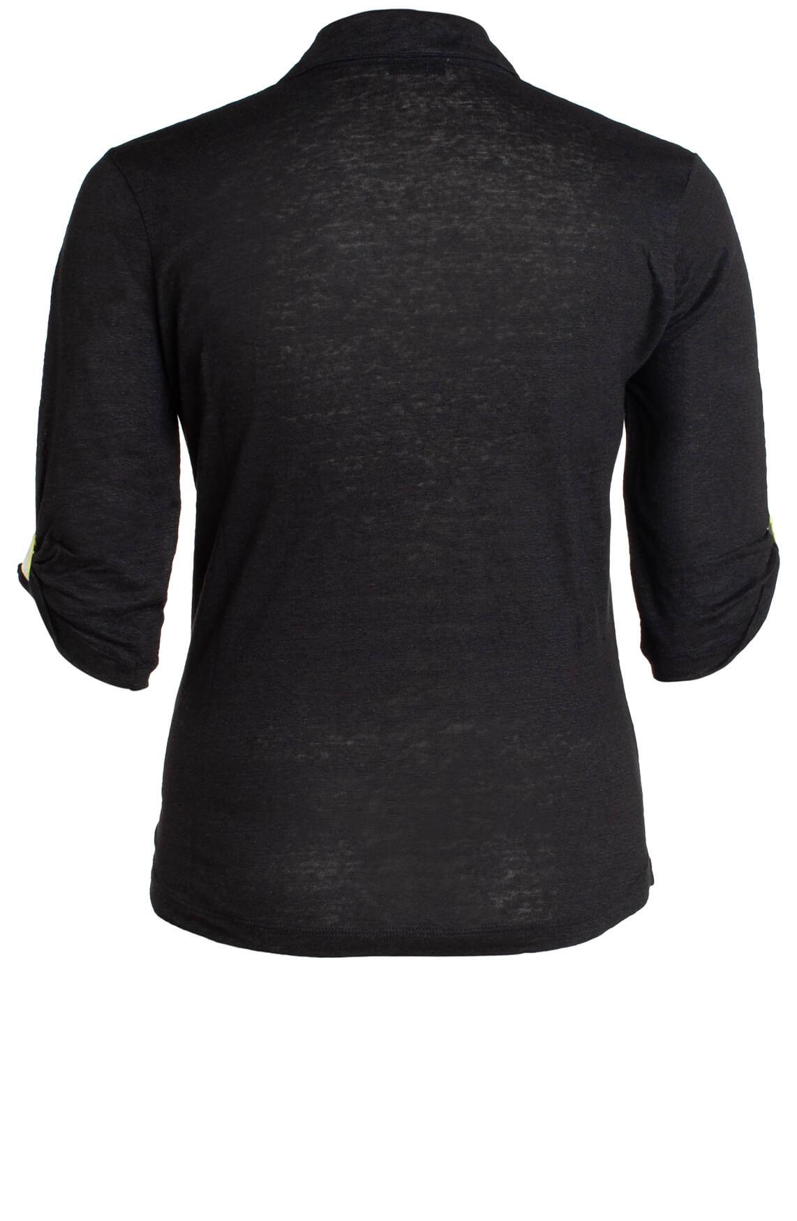 Anna Dames Linnen polo shirt zwart
