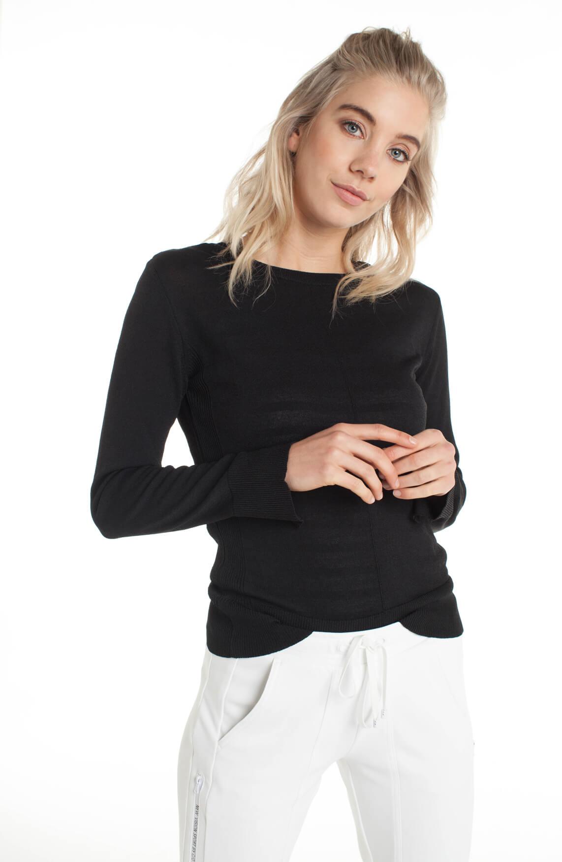 Anna Dames Pullover met striksluiting zwart