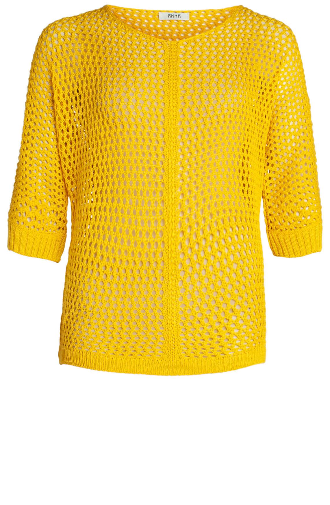 Anna Dames Gehaakte pullover geel