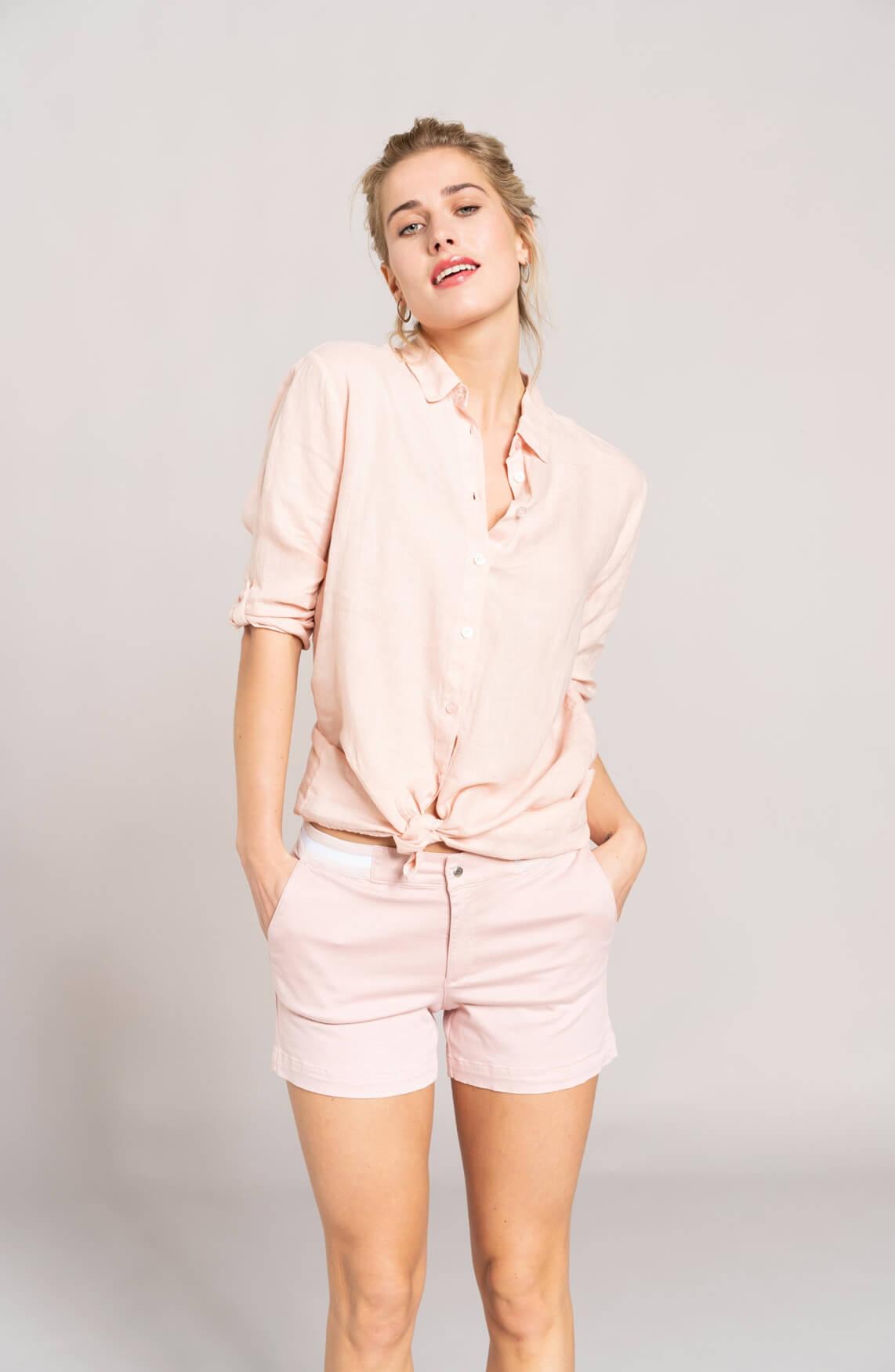 Anna Blue Dames Linnen blouse roze