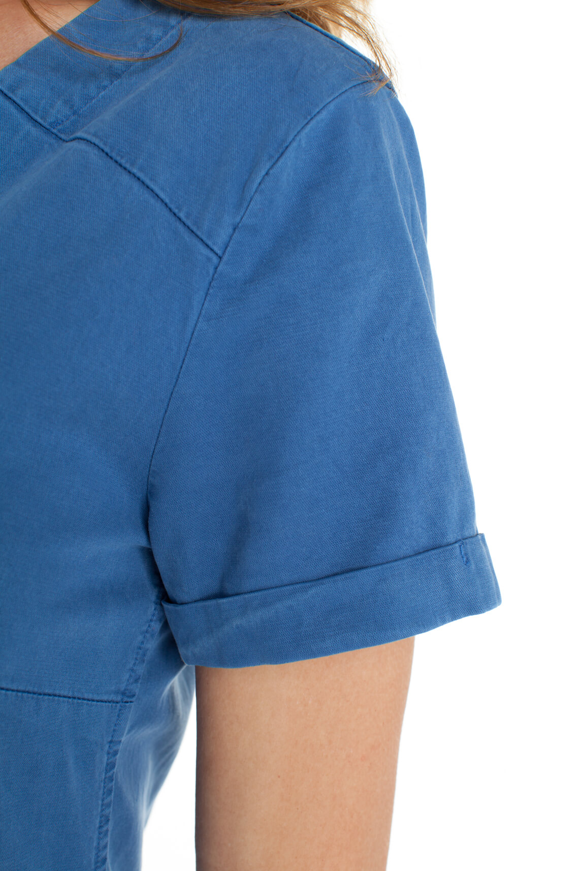 Anna Blue Dames Tencel jurk Blauw