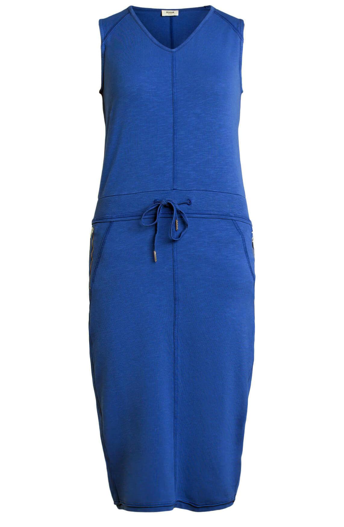 Anna Blue Dames Jurk met koordsluiting Blauw
