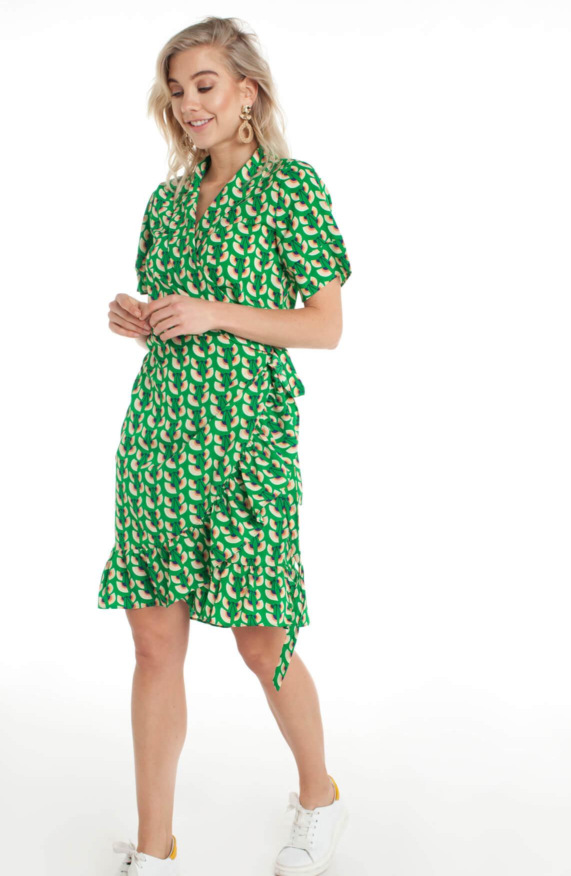 Lollys Laundry Dames Amber wikkeljurk groen