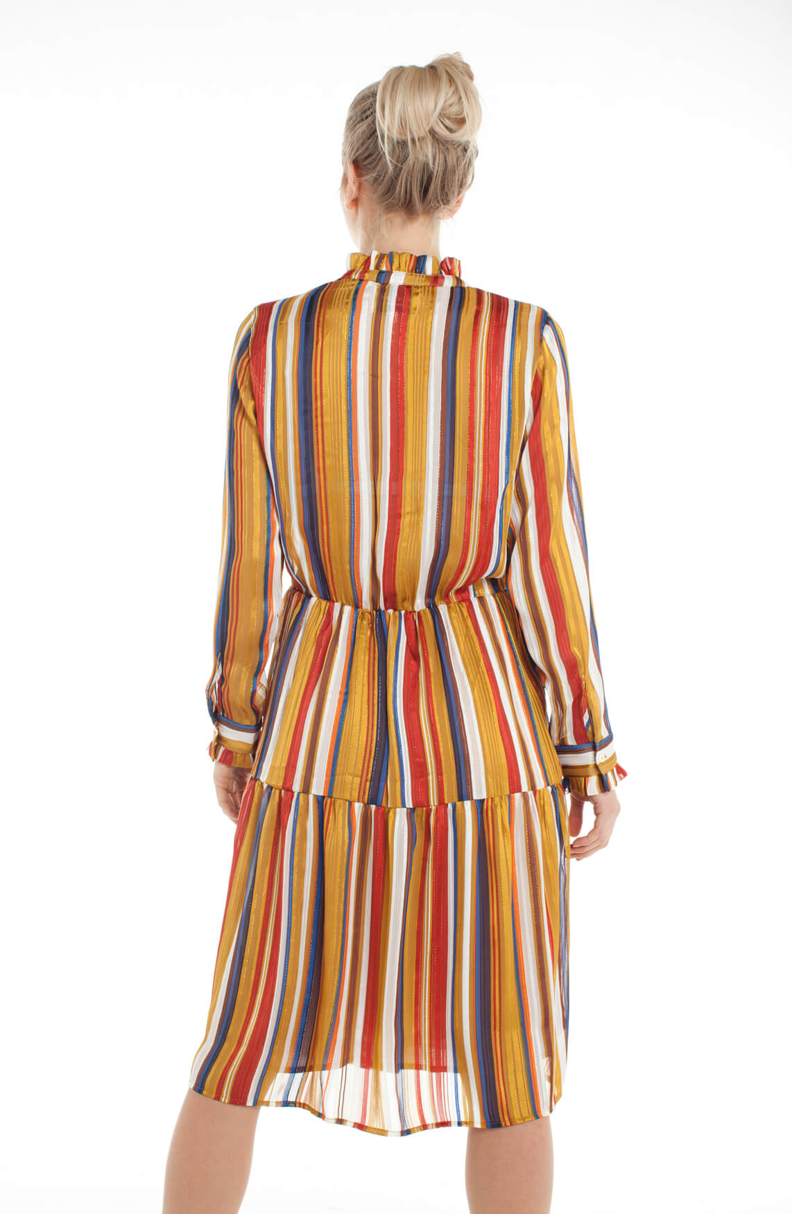 Lollys Laundry Dames Haley jurk met ruches geel