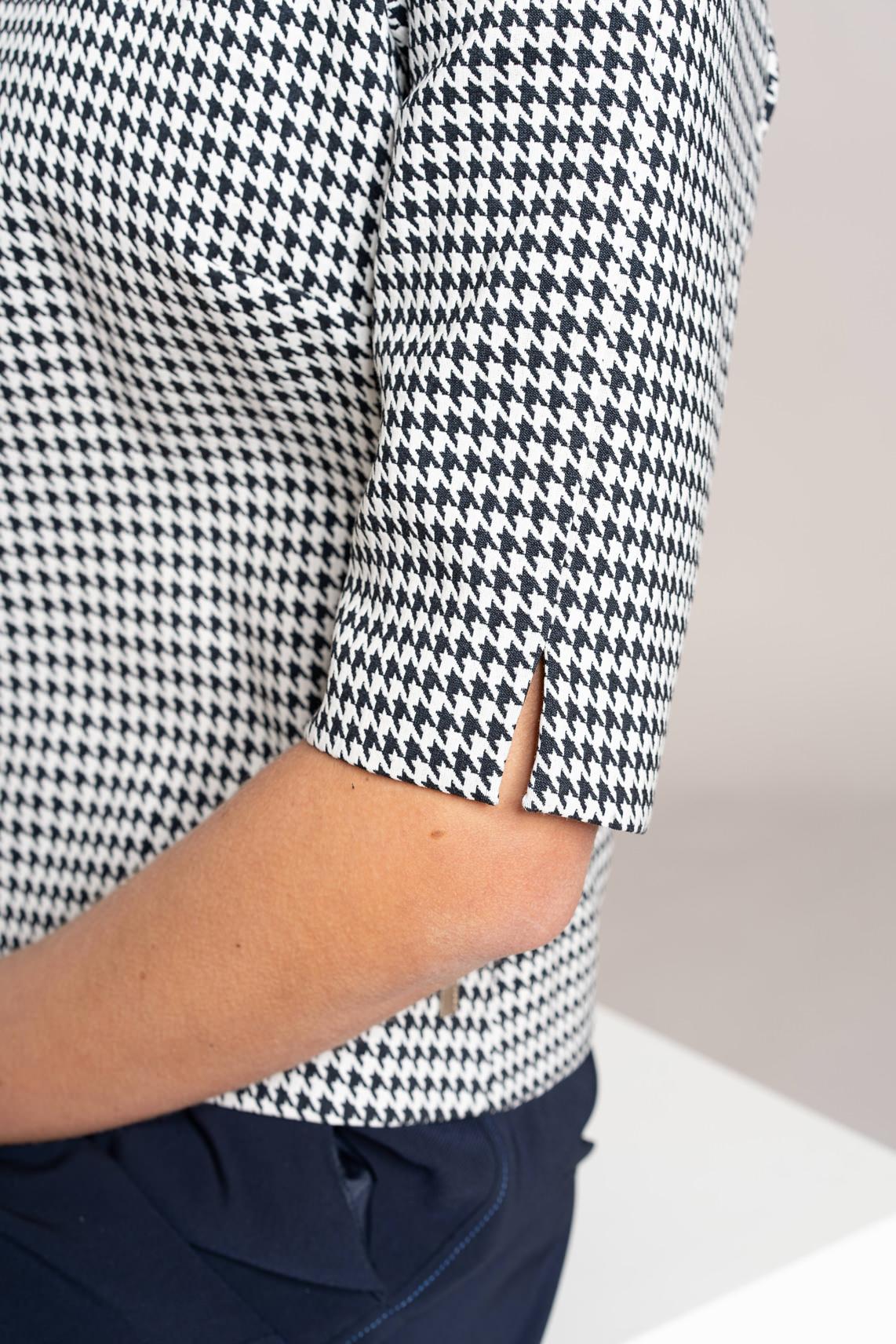 Anna Dames Pied-de-poule blouse Blauw