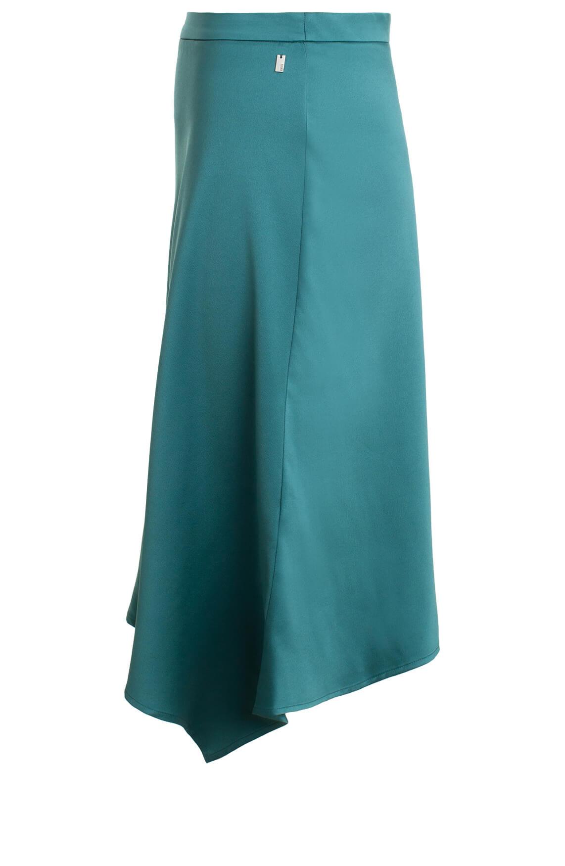 Anna Dames Satijn look rok groen