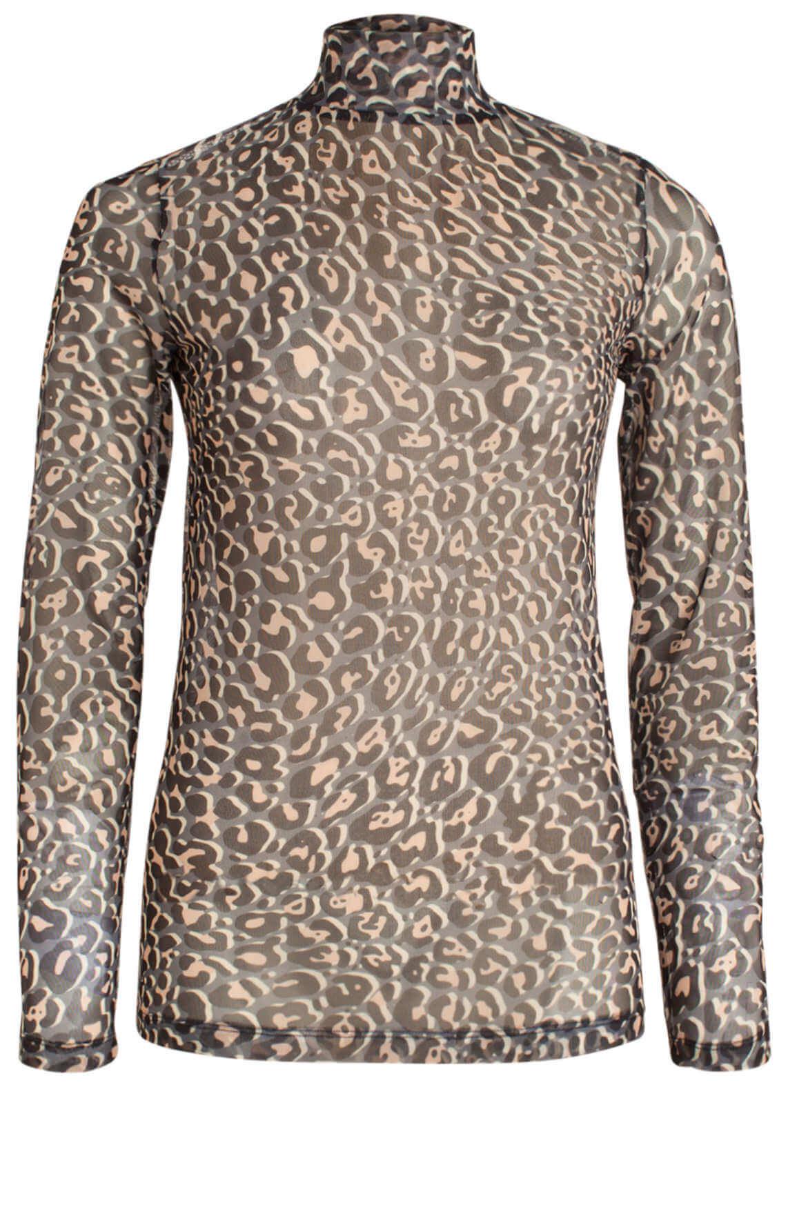 Anna Dames Mesh shirt met panterprint Grijs