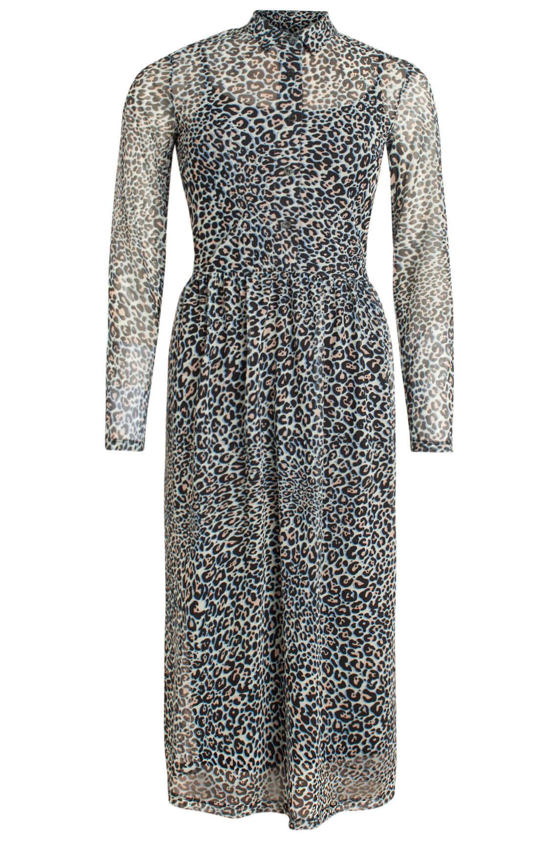 Anna Dames Lange jurk met panterprint wit