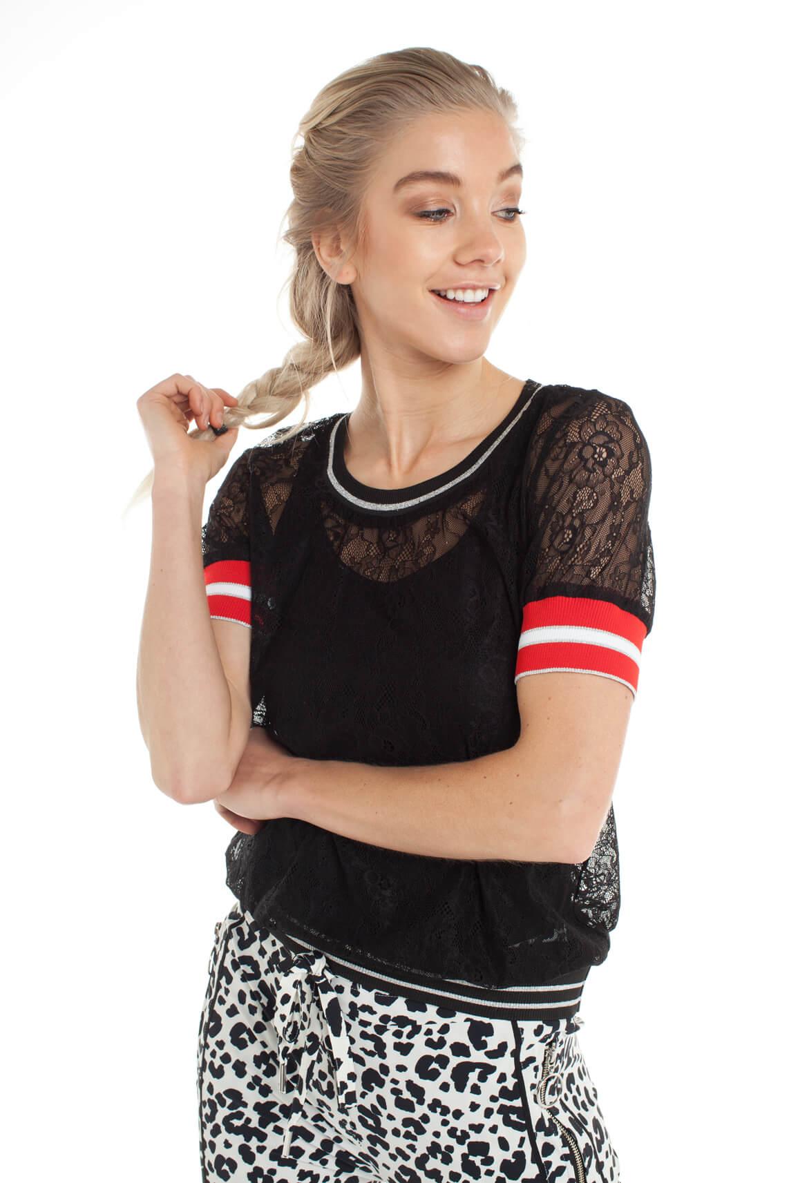 Jane Lushka Dames Kanten shirt zwart