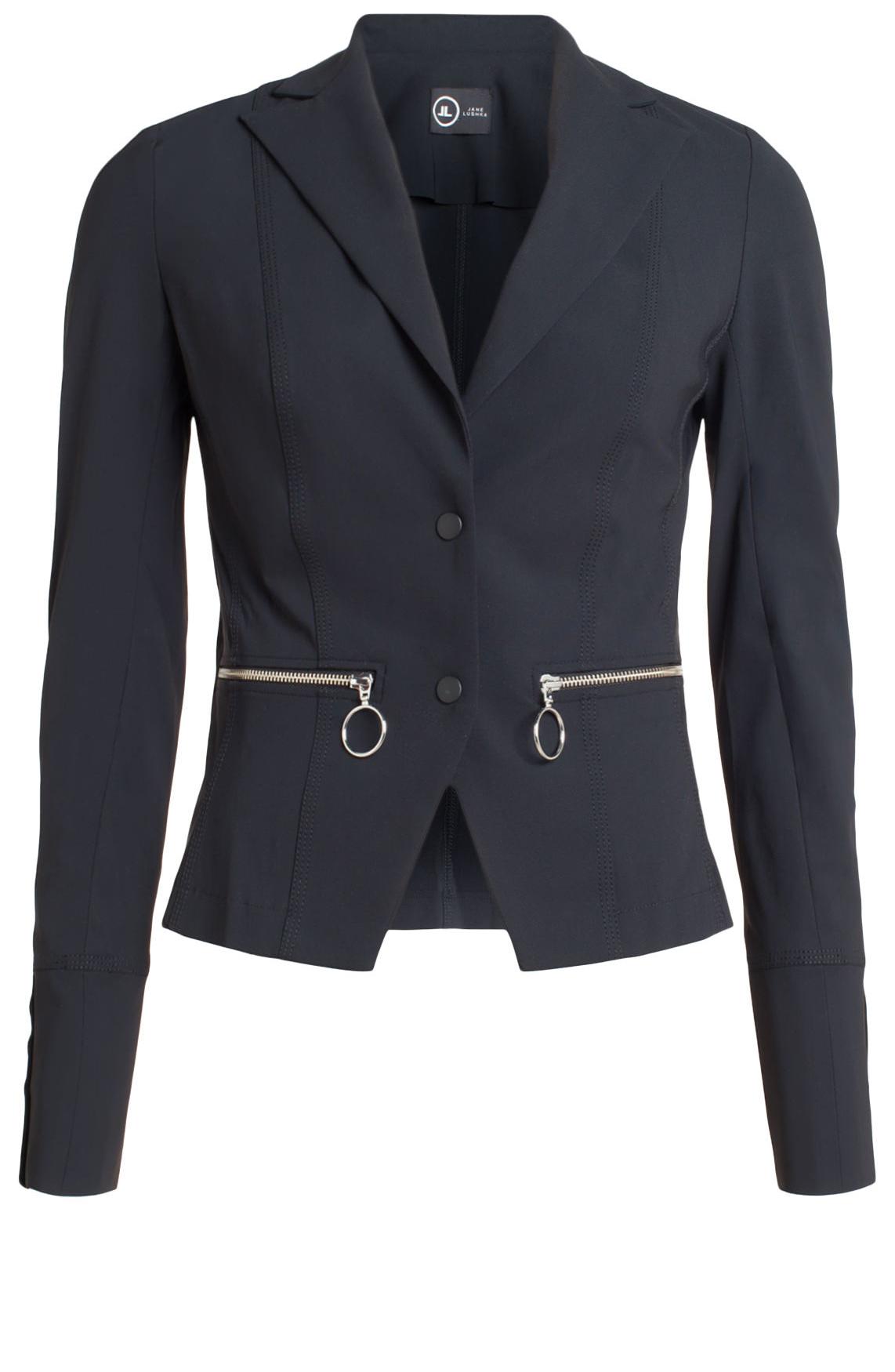 Jane Lushka Dames Jersey blazer met ritsen zwart