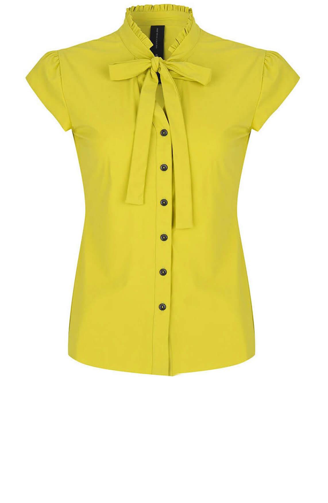 Jane Lushka Dames Blouse met striksluiting geel