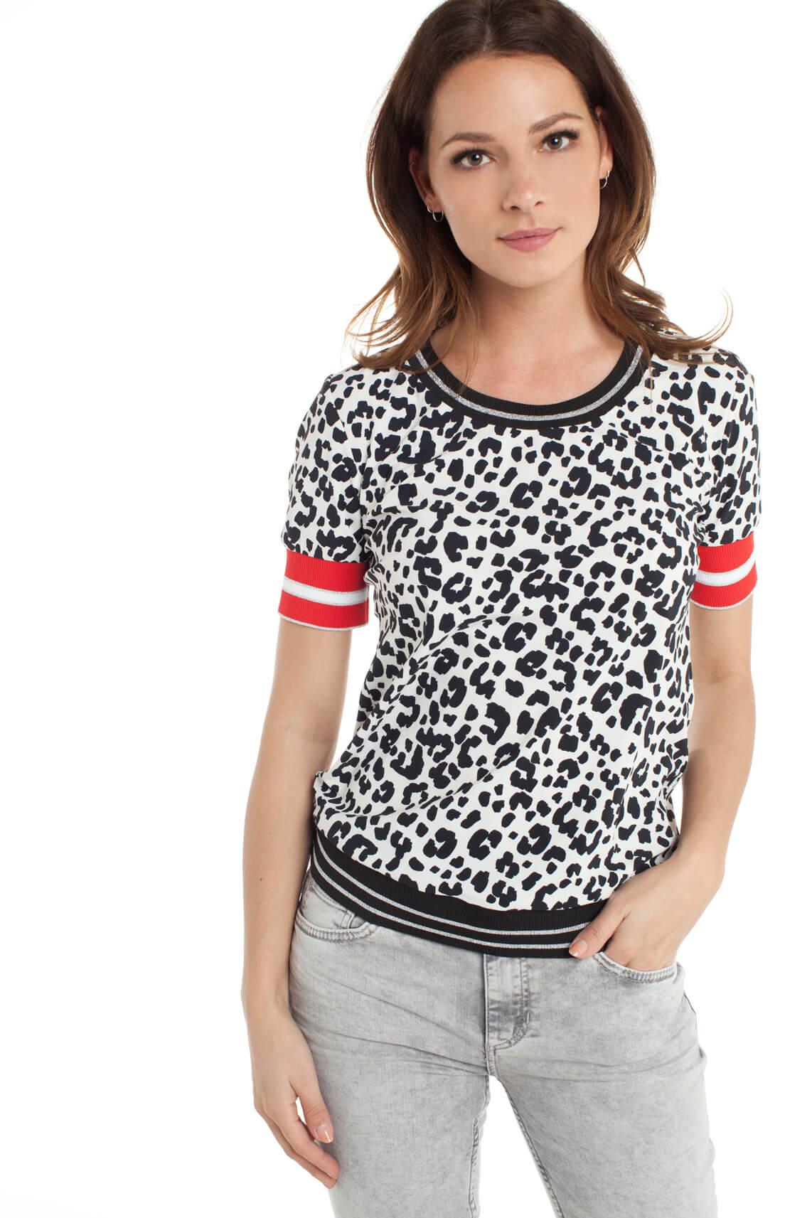 Jane Lushka Dames Shirt met panterprint zwart