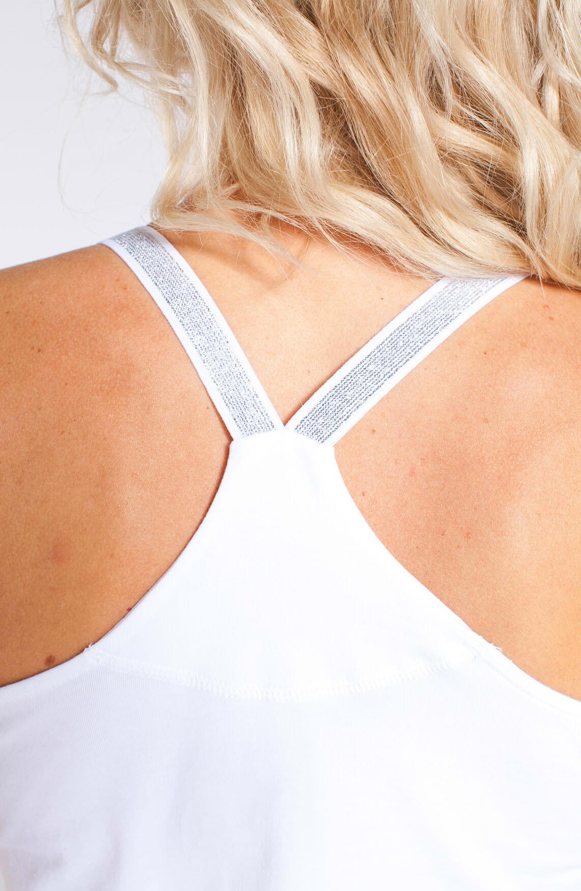 Anna Dames Top met lurex bandjes wit