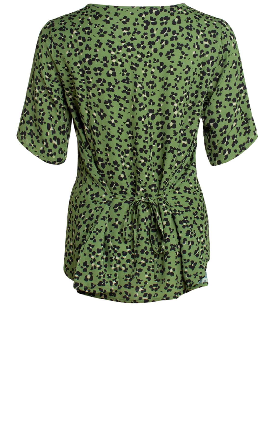 Anna Dames Panterprint blouse groen