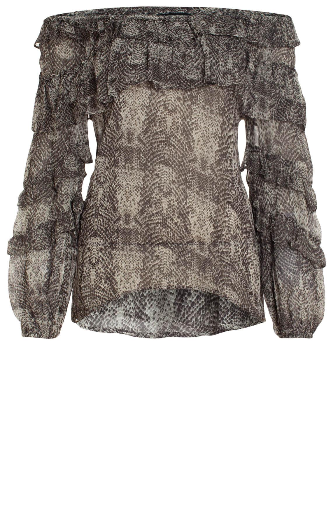 Alix The Label Dames Off shoulder blouse met reptielprint zwart