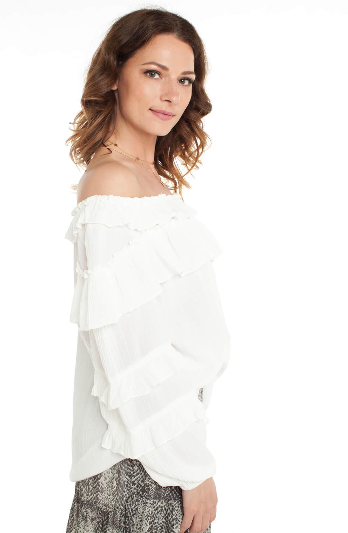 Alix The Label Dames Off shoulder blouse met ruches wit