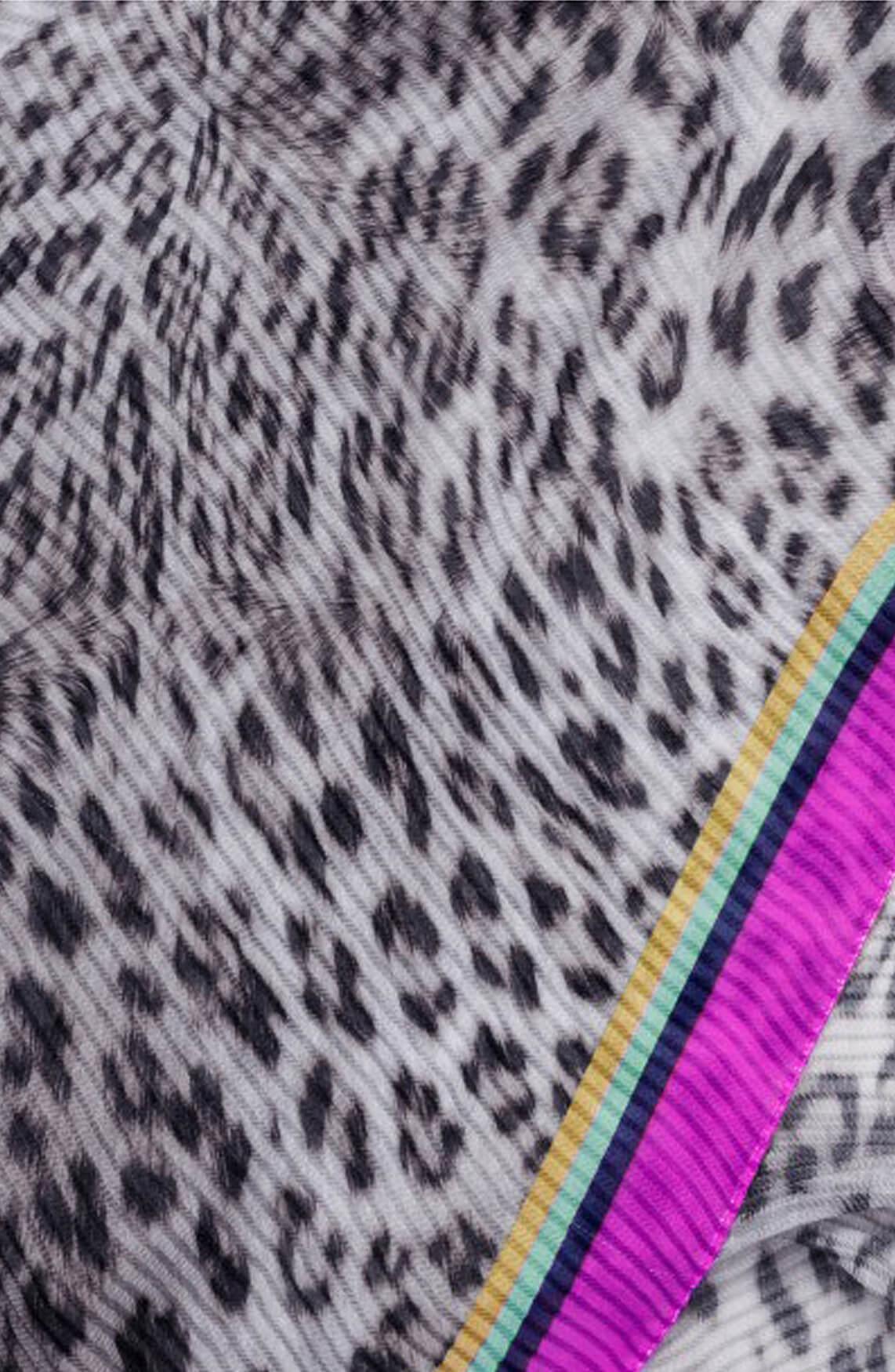 Codello Dames Plissé panterprint shawl zwart