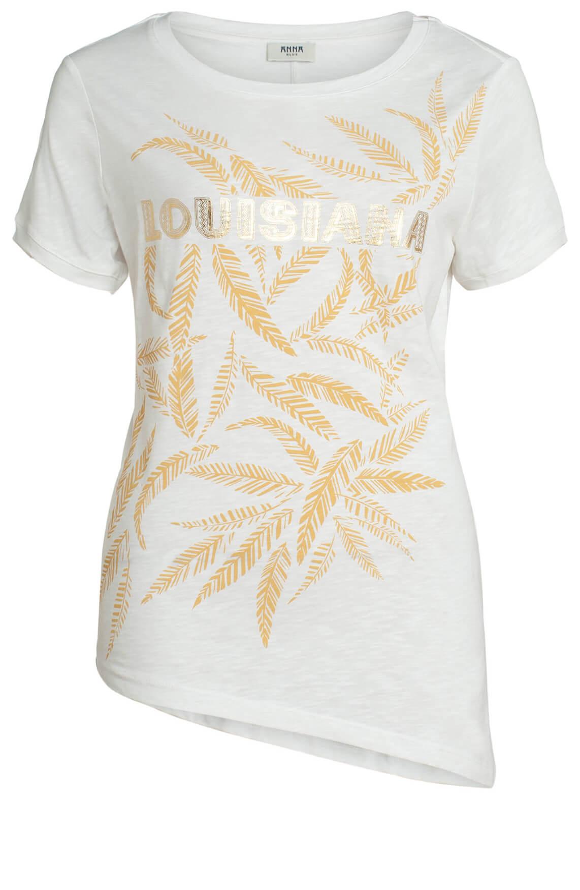Anna Blue Dames Shirt met print wit