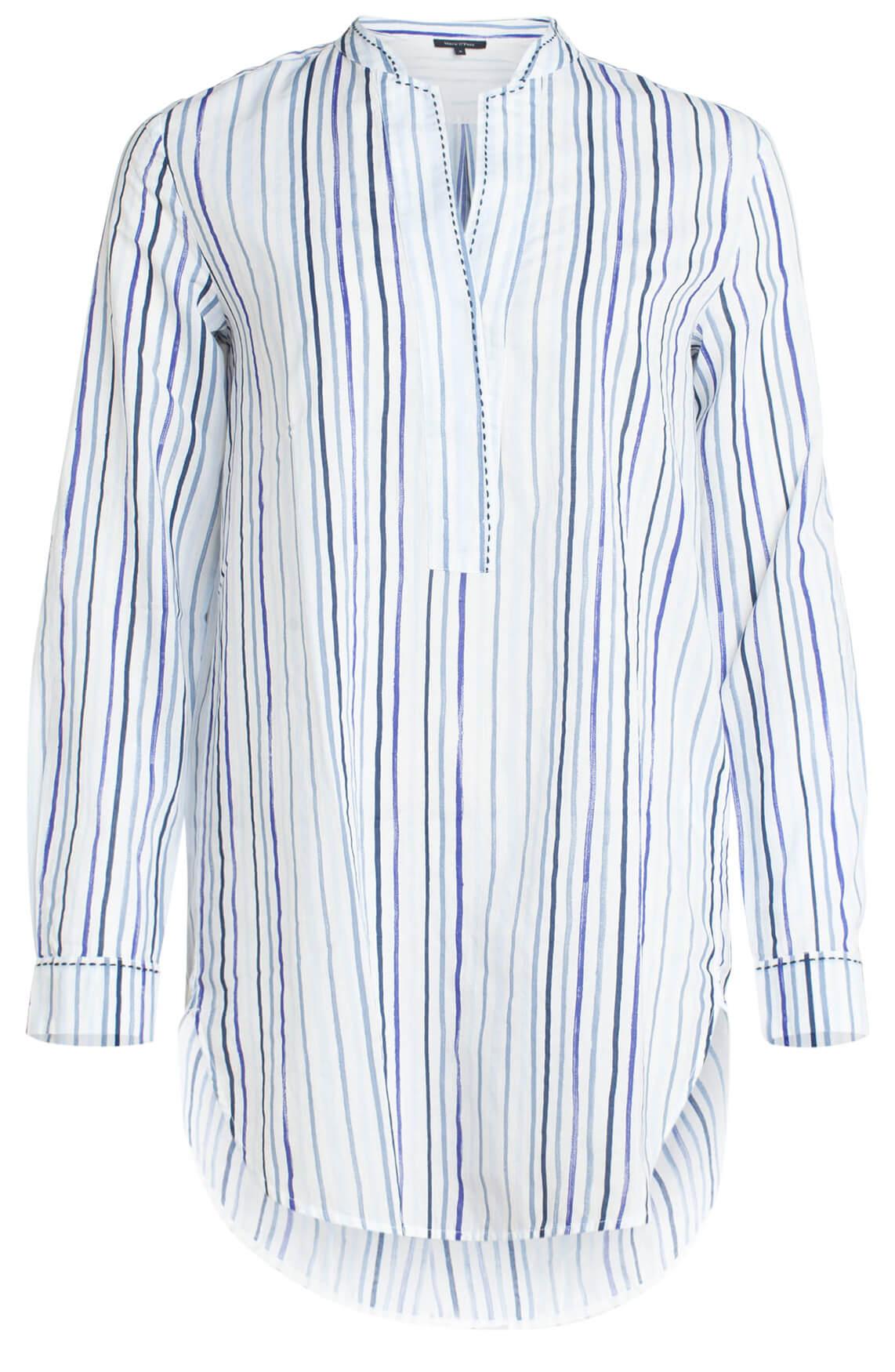 Marc O'Polo Dames lange blouse met strepen wit