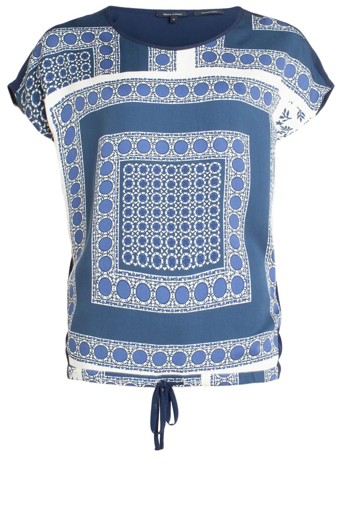 Marc O'Polo Dames Mouwloze blouse met print Blauw