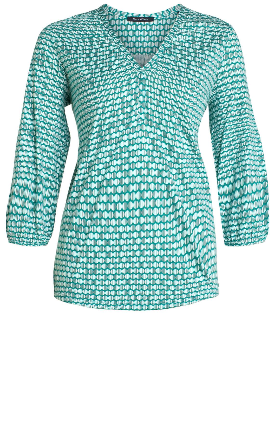 Marc O'Polo Dames Shirt met cirkelprint groen