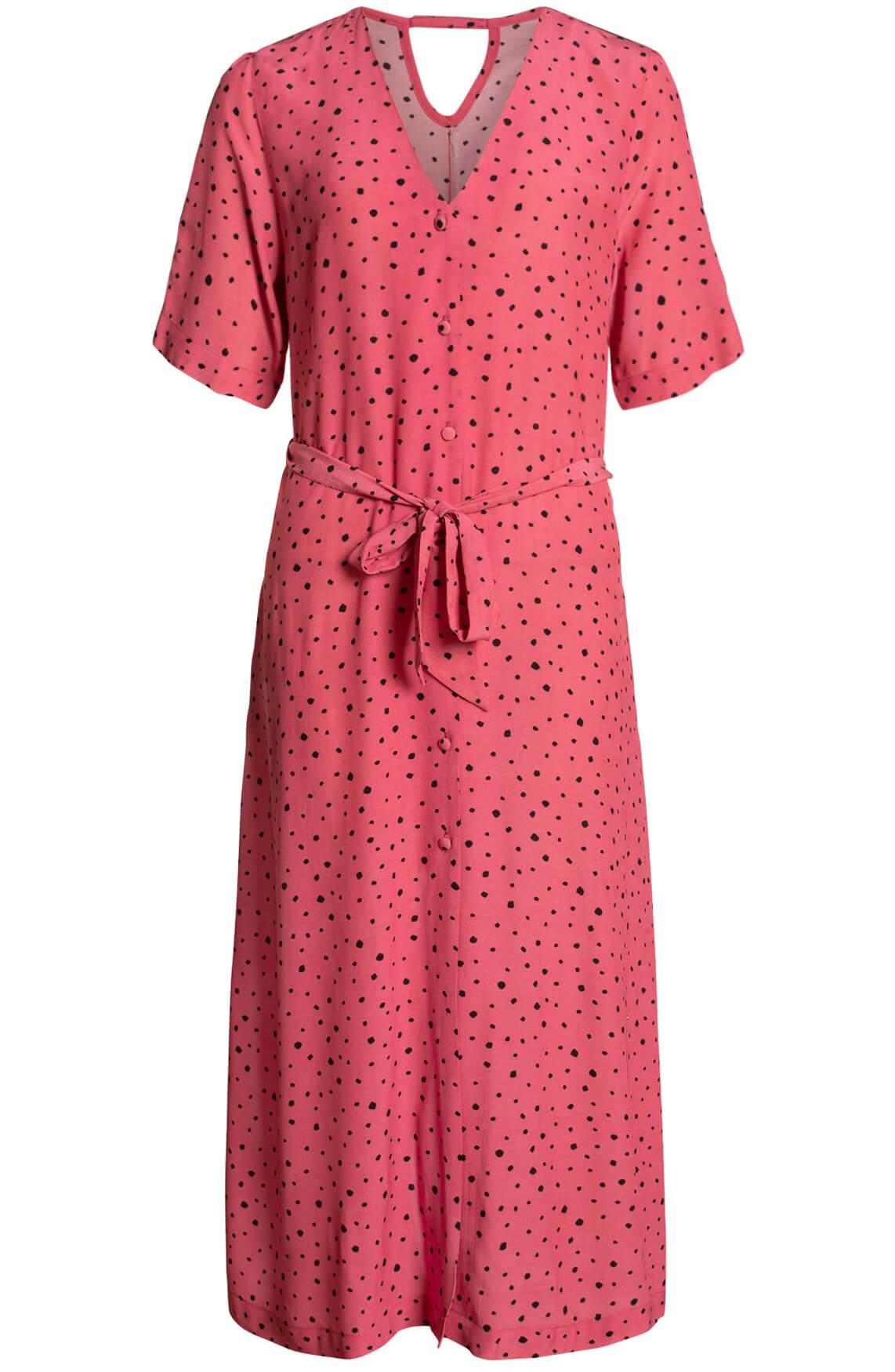 Anna Blue Dames Gestippelde jurk roze
