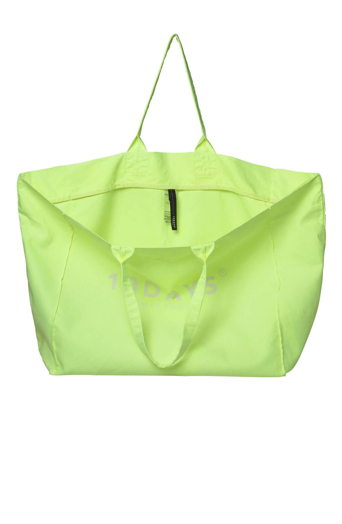 10 Days Dames Neon canvas shopper geel