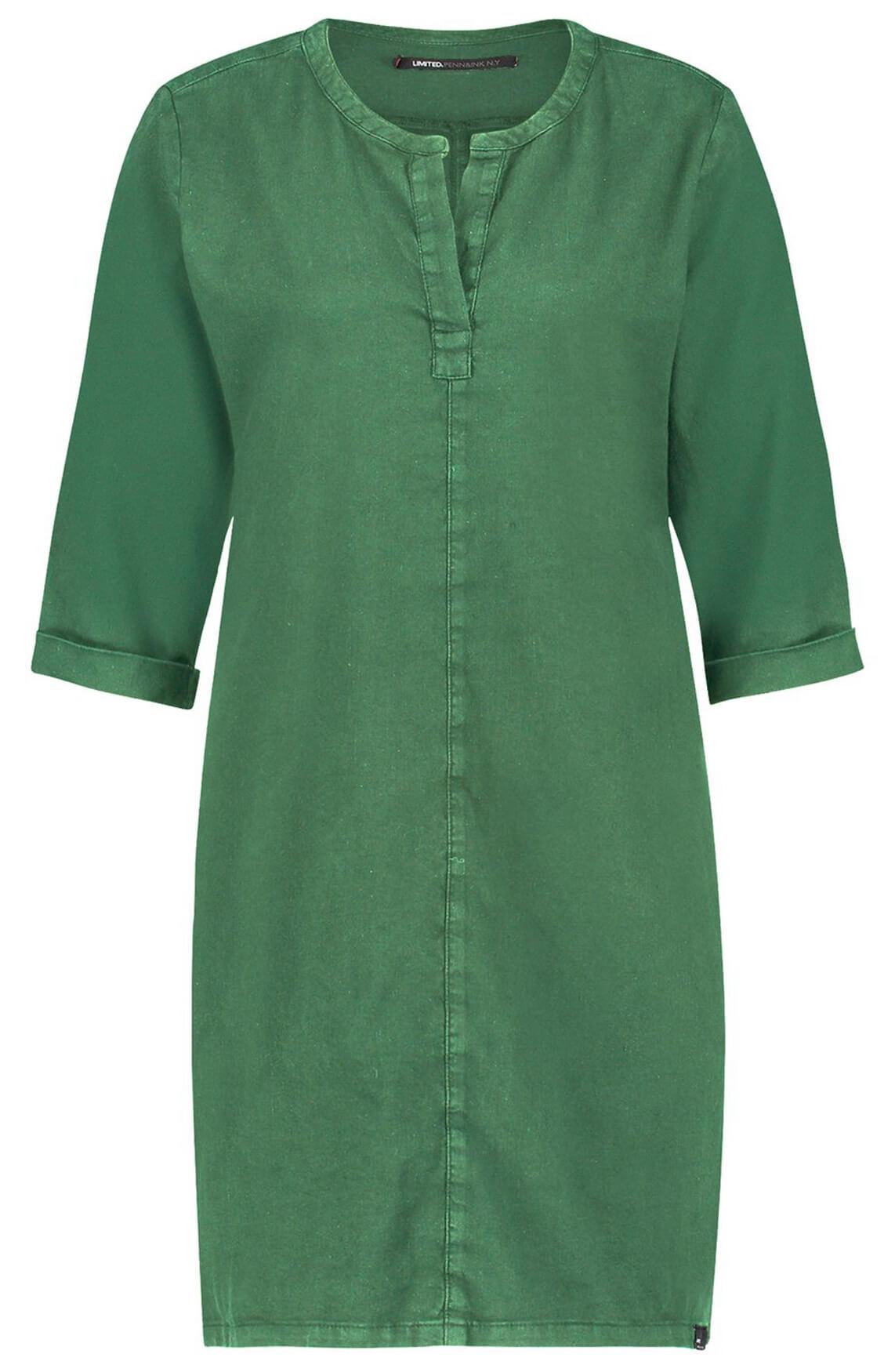 Penn & Ink Dames Materiaalmix jurk met V-hals groen