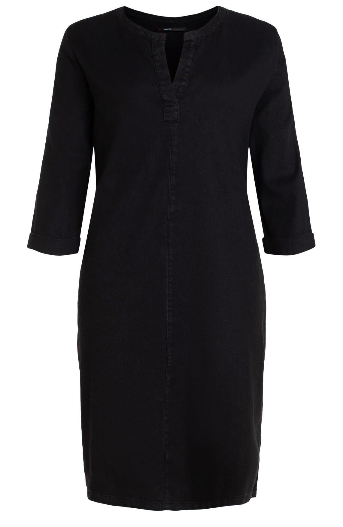 Penn & Ink Dames Materiaalmix jurk met V-hals zwart