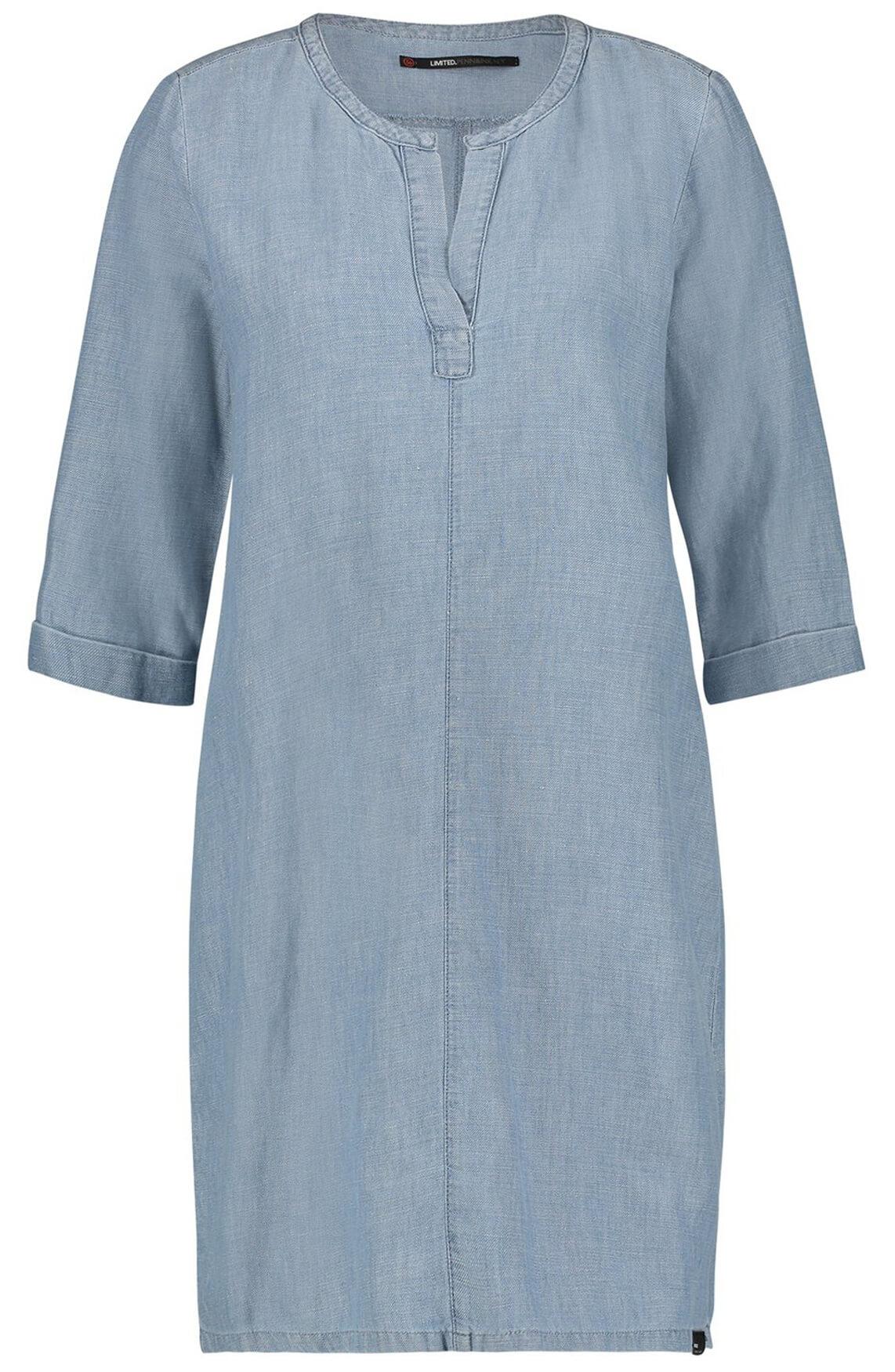 Penn & Ink Dames Denim jurk met V-hals Blauw