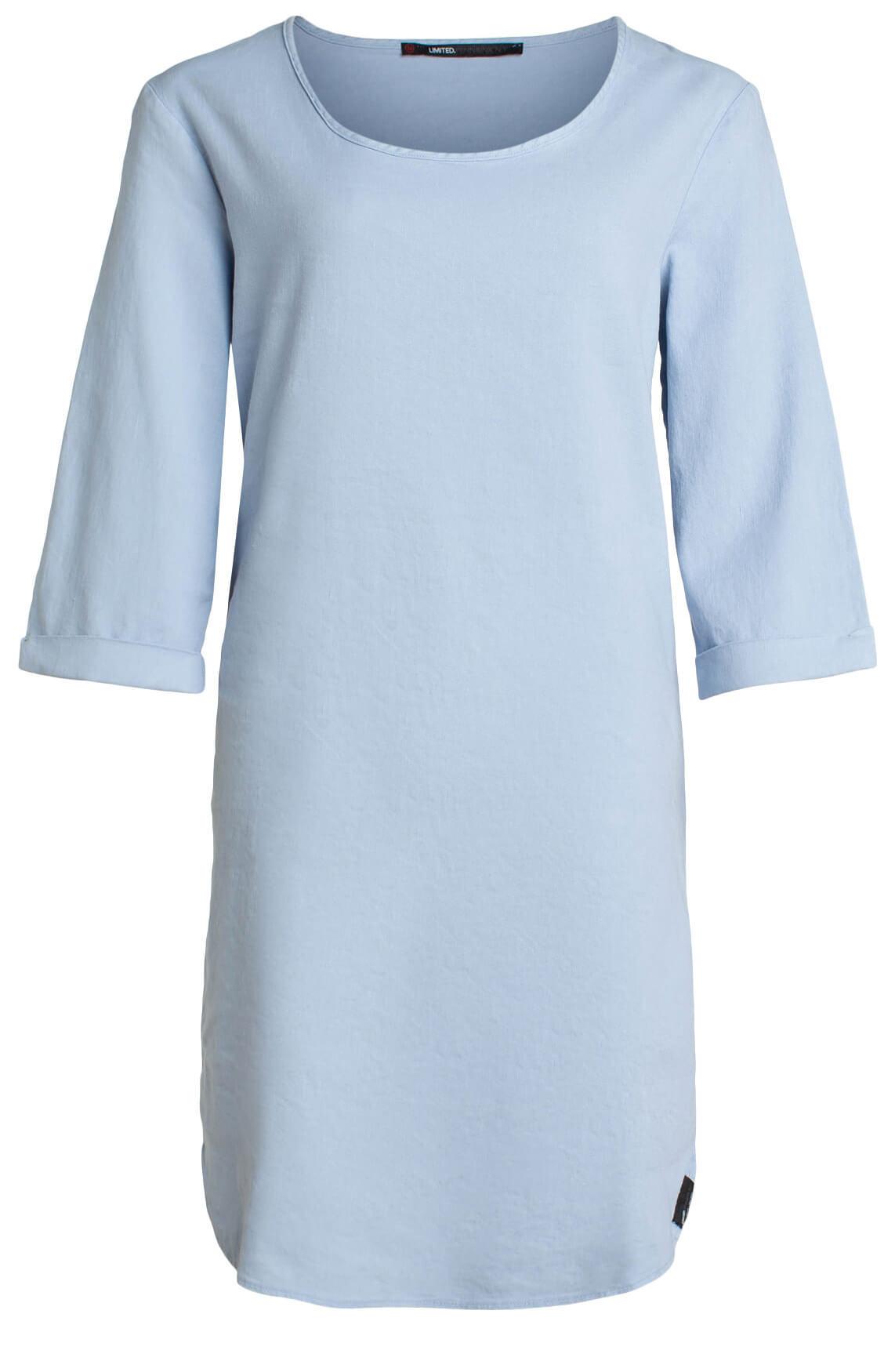 Penn & Ink Dames Materiaalmix jurk Blauw
