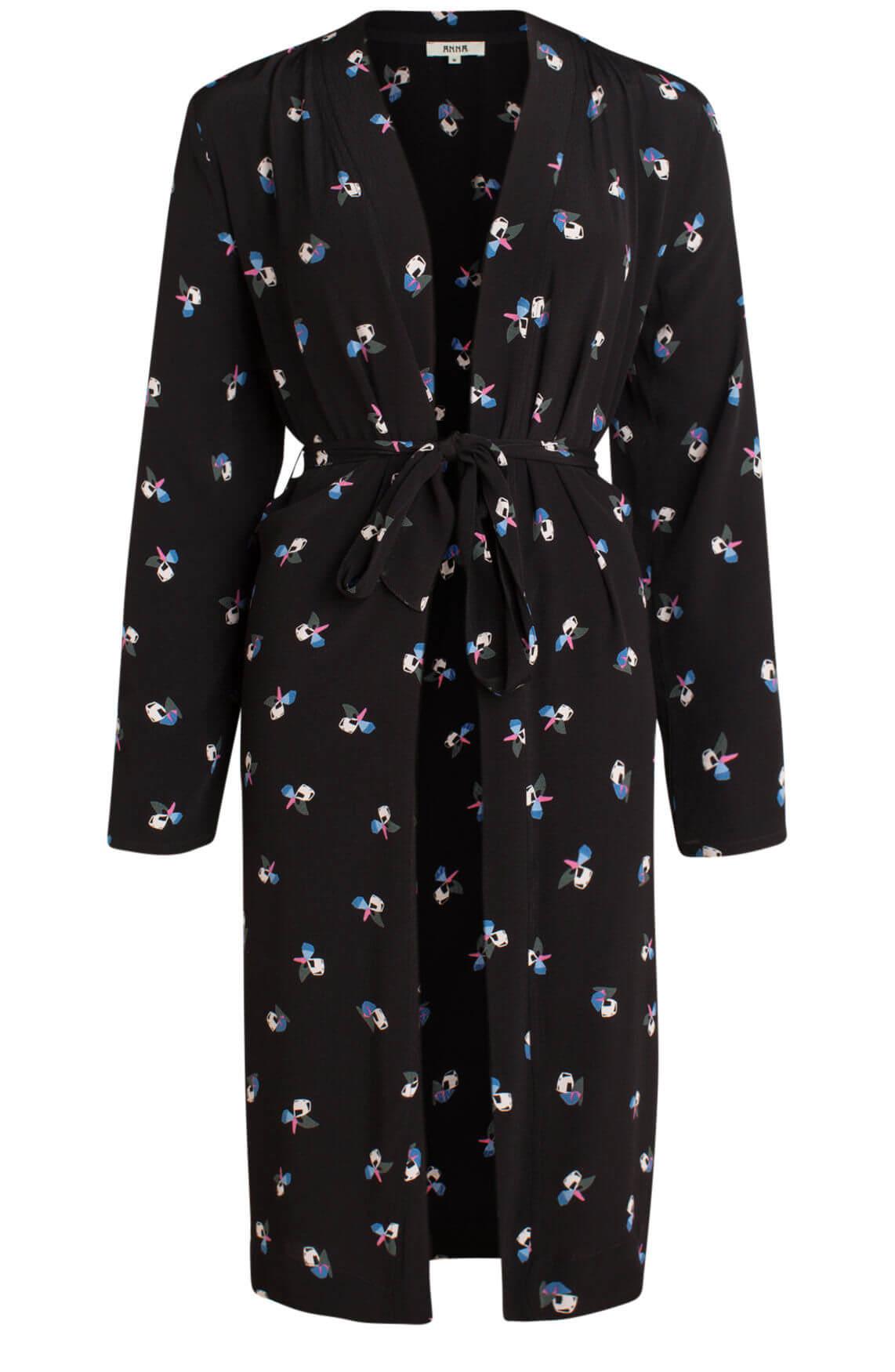 Anna Dames Kimono met print zwart