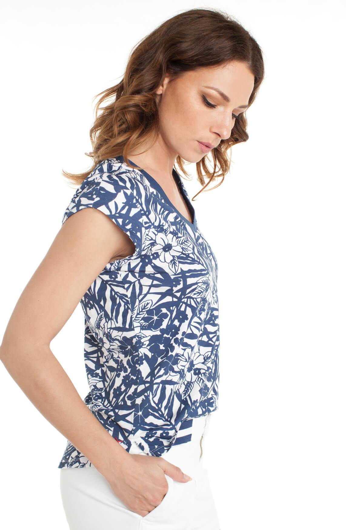 Anna Blue Dames Shirt met bloemenprint Blauw