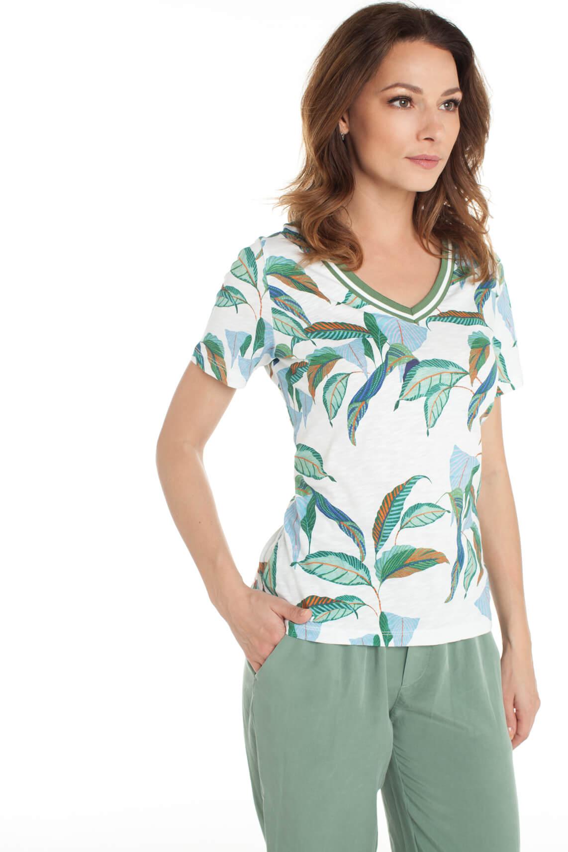 Anna Blue Dames Shirt met bladprint wit