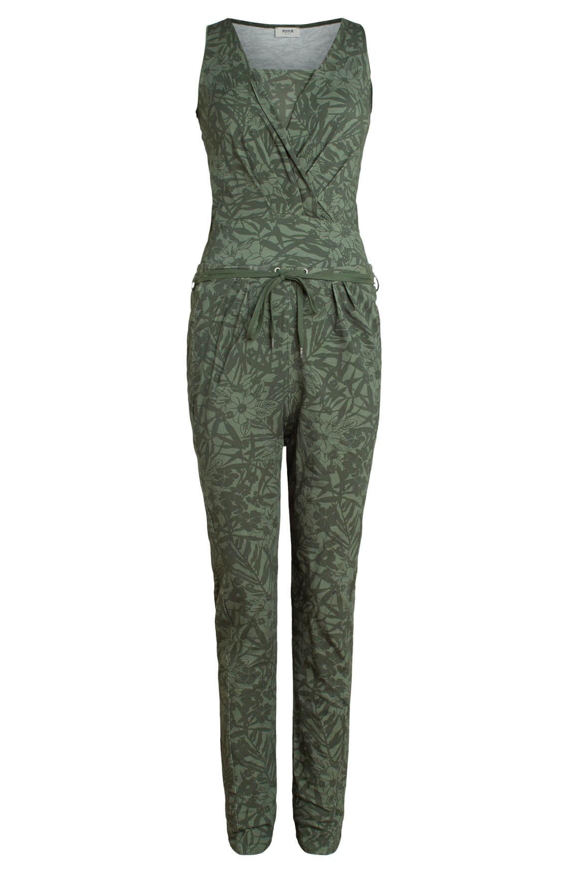 Anna Blue Dames Jumpsuit met bladprint groen