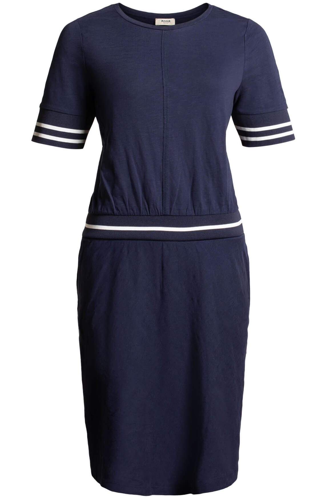 Anna Blue Dames Jurk met tailleband Blauw